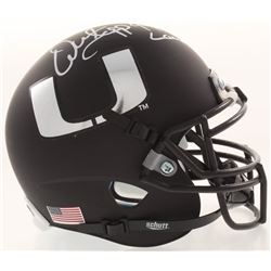 "Warren Sapp Signed Miami Hurricanes Matte Black Mini Helmet Inscribed ""94 Lombardi"" (JSA COA)"