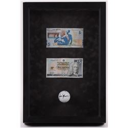 Jack Nicklaus Signed 11.5x17x3 Custom Framed Shadowbox Golfball Display with (2) Bills (Beckett LOA)