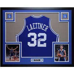 Christian Laettner Signed 35x43 Custom Framed Jersey (JSA COA)