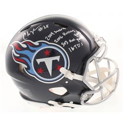 Chris Johnson Signed Tennessee Titans Full-Size Authentic On-Field Speed Helmet with Multiple Inscri