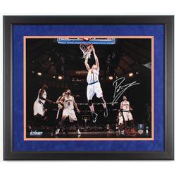 Kristaps Porzingis Signed New York Knicks 22x26 Custom Framed Photo DIsplay (Steiner COA)