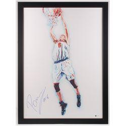 Kristaps Porzingis Signed New York Knicks LE 29x39 Custom Framed Print Display (Steiner COA)