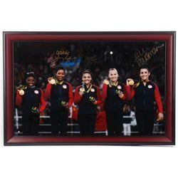 Gabby Douglas, Aly Raisman  Laurie Hernandez Signed 2016 Summer Olympics 23x35 Custom Framed Photo (