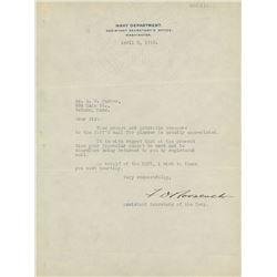 "Franklin D. Roosevelt Signed 8x10.25 Signed ""1918 Navy Department"" Letter (Beckett LOA)"