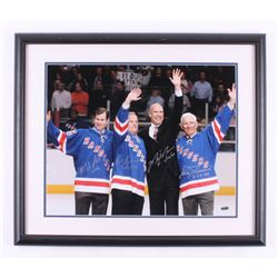 """""""Stanley Cup Champions"""" 22x26 Custom Framed Photo Display Signed by (4) With Mark Messier, Eddie Gia"""