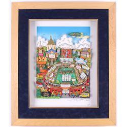 "Charles Fazzino Signed LE ""1988 Notre Dame Fighting Irish National Champions"" 22x27 Custom Framed Co"