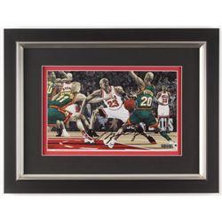 Michael Jordan Signed Chicago Bulls 13.5x17.5 Custom Framed Print Display (UDA COA)