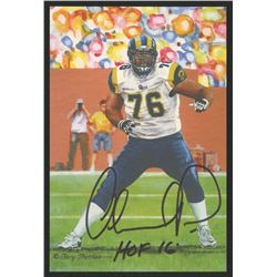 Orlando Pace Signed 2016 LE St. Louis Rams 4x6 Pro Football Hall of Fame Art Collection Card Inscrib