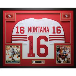 Joe Montana Signed 35x43 Custom Framed Jersey (JSA COA)