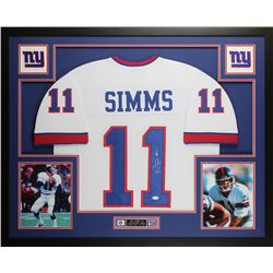 Phil Simms Signed 35x43 Custom Framed Jersey (JSA COA)