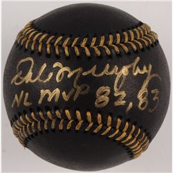 """Dale Murphy Signed OML Black Leather Baseball Inscribed """"NL MVP 82, 83"""" (Beckett COA)"""