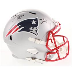 "Ty Law Signed New England Patriots Full-Size Speed Helmet Inscribed ""3x SB Champ!"" (Radtke COA)"