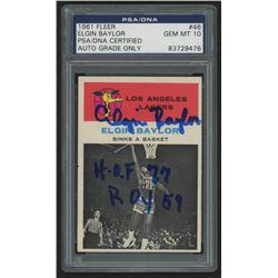 """Elgin Baylor Signed 1961-62 Fleer #46 In-Action Inscribed """"H.O.F 77""""  """"ROY 59"""" (PSA Encapsulated)"""