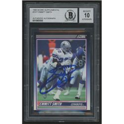 Emmitt Smith Signed 1990 Score Supplemental #101T RC (BGS Encapsulated)