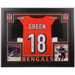 A. J. Green Signed 35.5x43.5 Custom Framed Jersey Display (JSA COA)