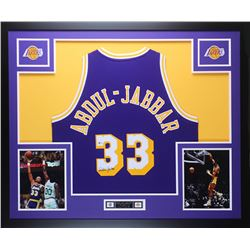Kareem Abdul-Jabbar Signed 35x43 Custom Framed Jersey (Beckett COA)