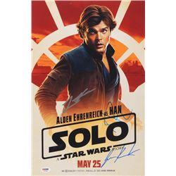 "Lawrence Kasdan, Jonathan Kasdan,  Alden Ehrenreich Signed ""Solo: A Star Wars Story"" 11x17 Movie Pos"