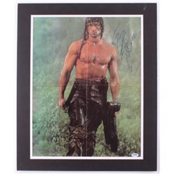 """Sylvester Stallone Signed """"Rambo"""" 20x24 Custom Matted Poster Display (PSA COA)"""