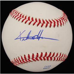 Keston Hiura Signed Baseball (JSA COA)