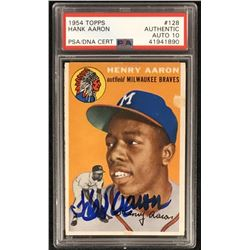 Hank Aaron Signed 1954 Topps #128 RC - Auto Graded PSA 10 (PSA Encapsulated)