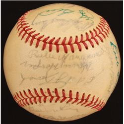 Baseball Hall of Famers ONL Baseball Signed by (16) with Yogi Berra, Bob Feller, Bill Dickey, Harry