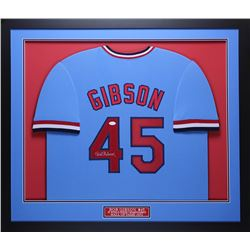 Bob Gibson Signed 32x37 Custom Framed Jersey Display (JSA COA)