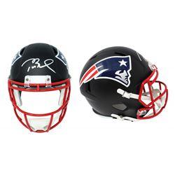 Tom Brady Signed New England Patriots Full-Size Matte Black Speed Helmet (Schwartz COA)