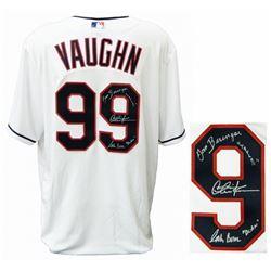 "Charlie Sheen, Tom Berenger  Corbin Bernsen Signed ""Major League"" Clevland Indians Jersey Inscribed"