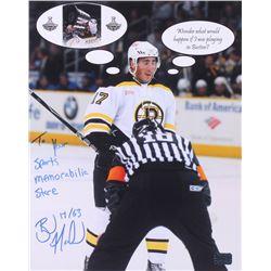 "Brad Marchand Signed Boston Bruins 11x14 Photo Inscribed ""To Your Sports Memorabilia Store""  ""17 / 6"