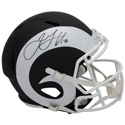 Jared Goff Signed Los Angeles Rams Full-Size Matte Black Speed Helmet (Fanatics Hologram)