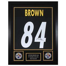 Antonio Brown 24x30 Custom Framed Jersey Display (JSA COA)