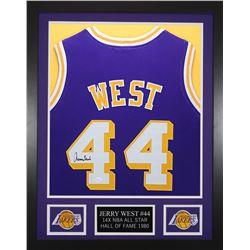 Jerry West 24x30 Custom Framed Jersey Display (JSA COA)