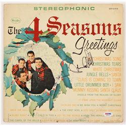 "Frankie Valli Signed The Four Seasons ""The Four Seasons Greetings"" Vinyl Record Album Cover (PSA COA"