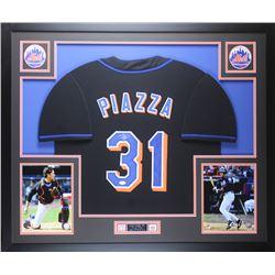 Mike Piazza Signed 35x43 Custom Framed Jersey Display (JSA COA)