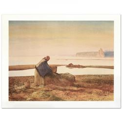 """William Nelson Signed """"Mussel Digger"""" Limited Edition 22x28 Lithograph"""