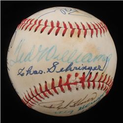 Circa 1990 Hall of Famers Baseball Signed by (16) with Enos Slaughter, Ted Williams, Ralph Kiner, Du