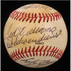 Circa 1990 Hall of Famers St. Louis Cardinals Logo Baseball Signed by (15) with Warren Spahn, Bob Fe