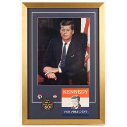 John F. Kennedy 18x26.5 Custom Framed Photo Display with (3) Pins  Bumper Sticker