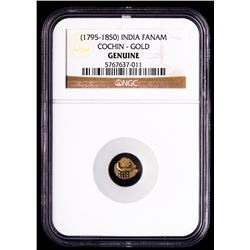 (1795-1850) India - Cochin Gold Fanam (NGC Genuine)