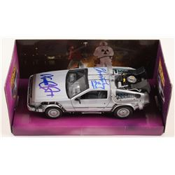 """Michael J. Fox  Christopher Lloyd Signed """"Back to the Future"""" Delorean Time Machine 1:24 Die-Cast Ca"""