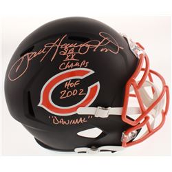 Dan Hampton Signed Chicago Bears Full-Size Matte Black Speed Helmet with Mutiple Inscriptions (Schwa