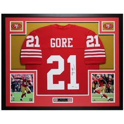 Frank Gore Signed 35x43 Custom Framed Jersey (PSA COA)