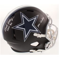 "Bob Lilly Signed Dallas Cowboys Full-Size Matte Black Speed Helmet Inscribed ""HOF '80""  ""Mr. Cowboy"""