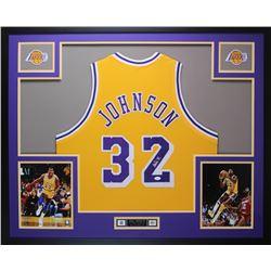 Magic Johnson Signed 35x43 Custom Framed Jersey (JSA COA)