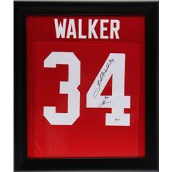 """Herschel Walker Signed 23x27 Custom Framed Jersey Inscribed """"82 Heisman"""" (Beckett COA)"""