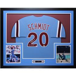 "Mike Schmidt Signed 35x43 Custom Framed Jersey Inscribed ""80 WS Champs"" (Fanatics Hologram)"