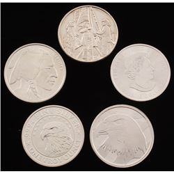 Lot of (5) .999 Fine Silver Bullion Rounds with (1) Ounce,  (4) Troy Ounce