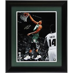 Giannis Antetokounmpo Signed Milwaukee Bucks 23x27 Custom Framed Photo Display (JSA COA)