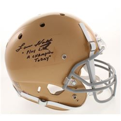 Lou Holtz Signed Notre Dame Fighting Irish Full-Size Helmet Inscribed  Play Like A Champion Today  (