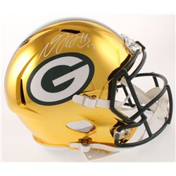 Davante Adams Signed Green Bay Packers Full-Size Chrome Speed Helmet (Beckett COA)